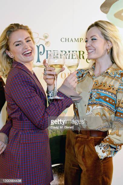 Alicia Agneson and Lucy Martin attend the launch of the inaugural 'PerrierJouet Artisans of the Wild' magazine at Alex Eagle Studio on February 13...