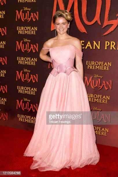 Alicia Agneson attends the Mulan European Premiere at the Odeon Luxe Leicester Square on March 12 2020 in London England
