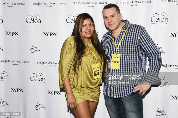 Alicia Andros and Stephen Andros attend the Flying Solo NYFW after party at Célon Bar Lounge on February 8 2020 in New York City