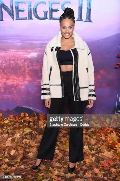 "Alicia Aylies attends ""Frozen 2"" Paris Gala Screening at Cinema Le Grand Rex on November 13, 2019 in Paris, France."