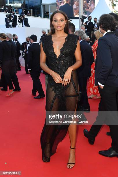 """Alicia Aylies attends the """"Aline, The Voice Of Love"""" screening during the 74th annual Cannes Film Festival on July 13, 2021 in Cannes, France."""