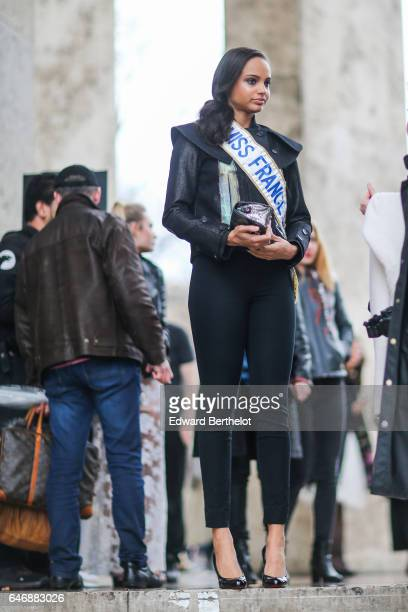 Alicia Aylies Miss France 2017 is seen outside the Rochas show during Paris Fashion Week Womenswear Fall/Winter 2017/2018 on March 1 2017 in Paris...