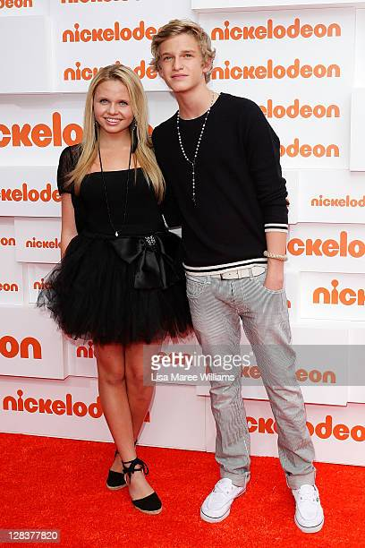 Alicia Banit and Cody Simpson arrives at the 2011 Nickelodeon Kid's Choice Awards at the Sydney Entertainment Centre on October 7 2011 in Sydney...