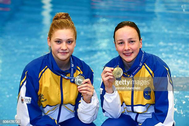 Alicia Blagg and Rebecca Gallantree of City of Leeds Diving Club pose with their gold medal after winning the Women's 3m Synchro during Day Two of...