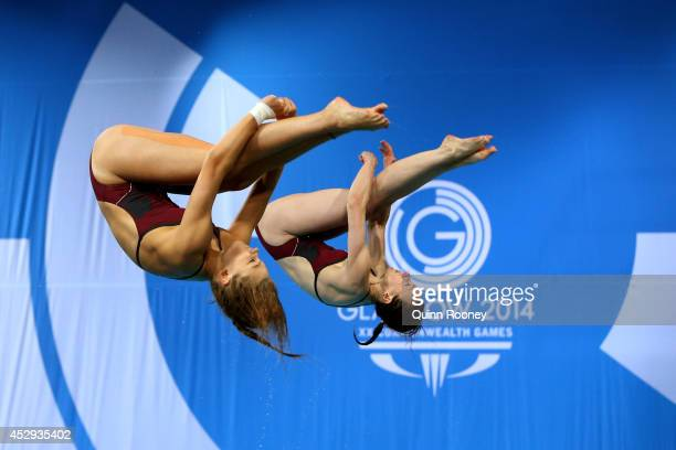 Alicia Blagg and Rebecca Gallantree of England compete in the Women's Synchronised 3m Springboard Final at Royal Commonwealth Pool during day seven...