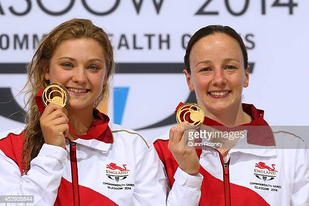 Alicia Blagg and Rebecca Gallantree of England pose with the gold medals during the medal ceremony for the Women's Synchronised 3m Springboard Final...
