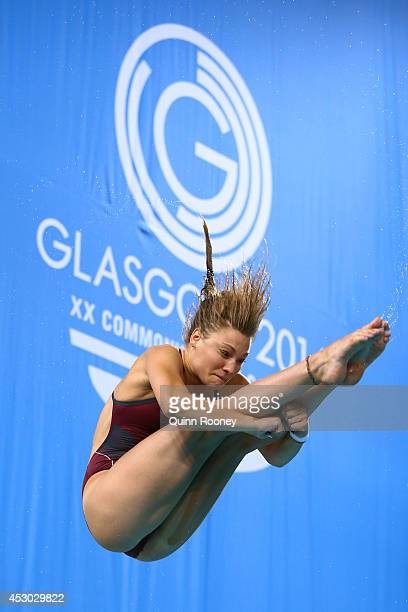Alicia Blagg of England competes in the Women's 1m Springboard Final at Royal Commonwealth Pool during day nine of the Glasgow 2014 Commonwealth...