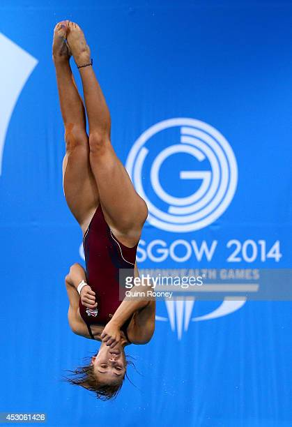 Alicia Blagg of England competes in the Women's 3m Springboard Preliminaries at Royal Commonwealth Pool during day ten of the Glasgow 2014...