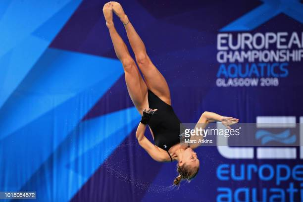 Alicia Blagg of Great Britain competes in the Women's 3 metre Springboard final during the diving on Day Ten of the European Championships Glasgow...