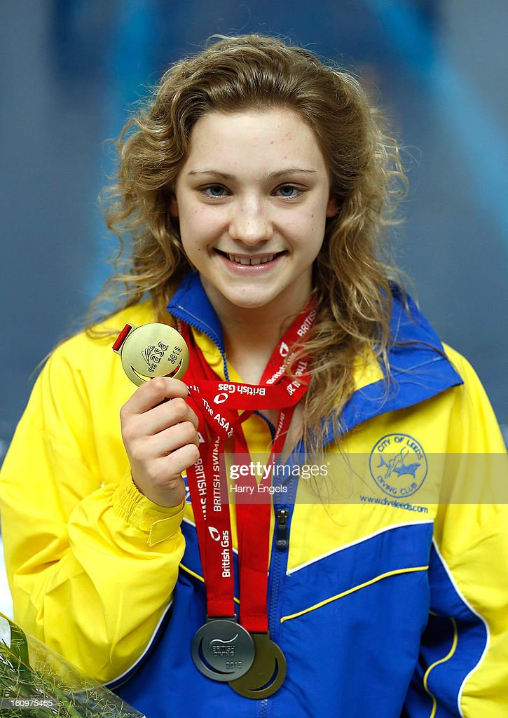 Alicia Blagg poses with her Gold medal after winning the Women's 1m Final on day 1 of the British Gas Diving Championships on February 8, 2013 in Plymouth, England.