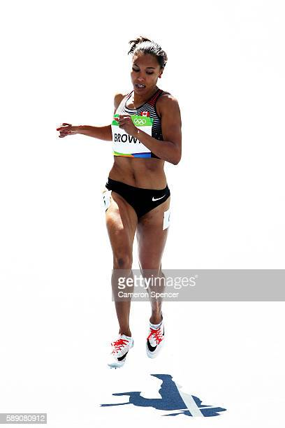 Alicia Brown of Canada competes in round one of the Women's 400m on Day 8 of the Rio 2016 Olympic Games at the Olympic Stadium on August 13 2016 in...