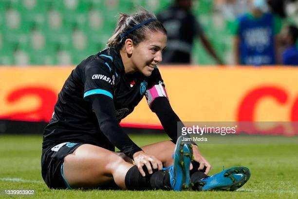 Alicia Cervantes of Chivas reacts during a match between Santos and Chivas as part of the Torneo Grita Mexico A21 Liga MX Femenil at Corona Stadium...