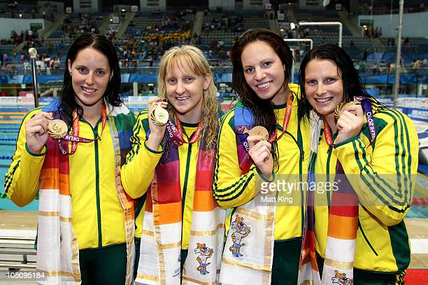 Alicia Coutts, Jessicah Schipper, Emily Seebohm and Leisel Jones of Australia pose with their gold medals during the medal ceremony for the Women's...