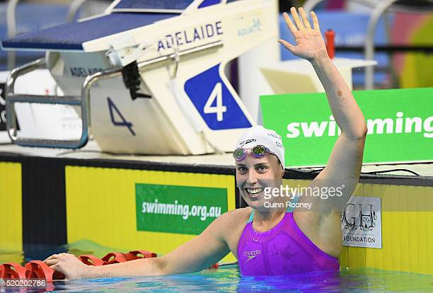 Alicia Coutts of Australia celebrates winning in the Women's 200 Metre Individual Medley during day four of the Australian Swimming Championships at...