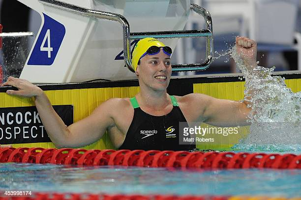 Alicia Coutts of Australia celebrates winning the Women's 100m Butterfly Final during day three of the 2014 Pan Pacific Championships at Gold Coast...