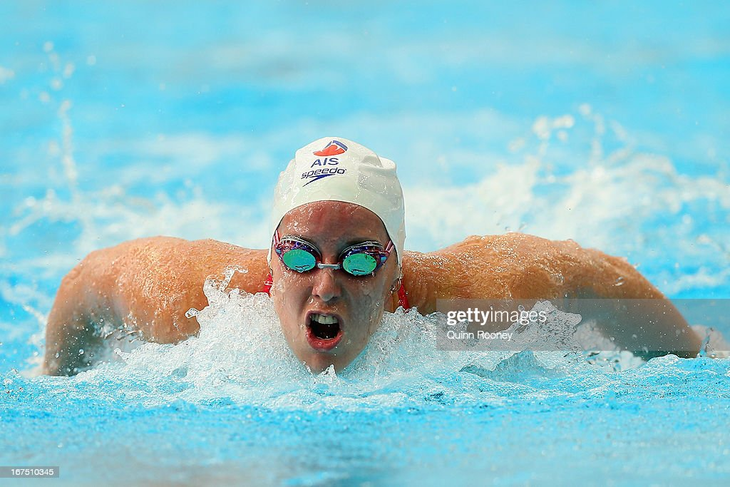 Alicia Coutts of Australia competes in the Women's 100 Metre Butterfly Heats during day one of the Australian Swimming Championships at the SA Aquatic and Leisure Centre on April 26, 2013 in Adelaide, Australia.