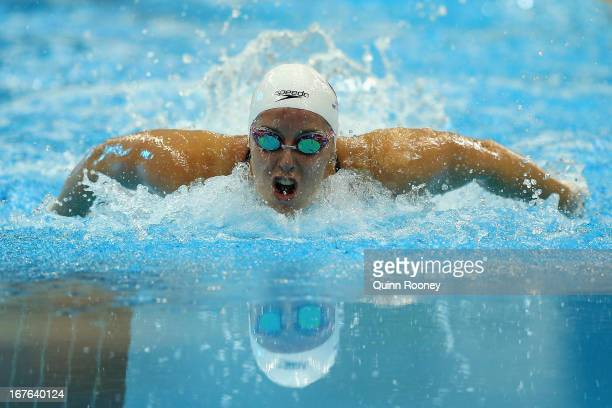 Alicia Coutts of Australia competes in the Women's 100 Metre Butterfly Final during day two of the Australian Swimming Championships at SA Aquatic...
