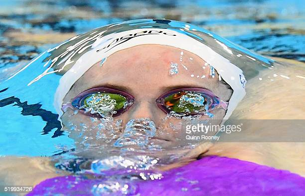 Alicia Coutts of Australia competes in the Women's 200 Metre Individual Medley during day three of the Australian Swimming Championships at the South...