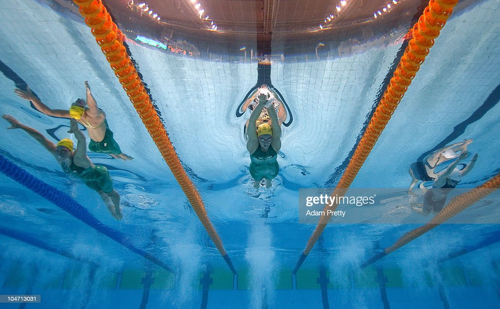 Alicia Coutts of Australia competes in the Women's 200m Individual Medley Final at the Dr. S.P. Mukherjee Swimming Complex during day one of the Delhi 2010 Commonwealth Games on October 4, 2010 in Delhi, India.