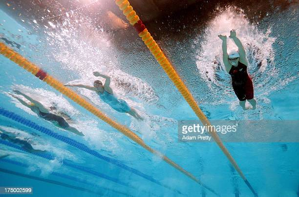 Alicia Coutts of Australia Katinka Hosszu of Hungary and Shiwen Ye of China compete during the Swimming Women's 200m Individual Medley Final on day...