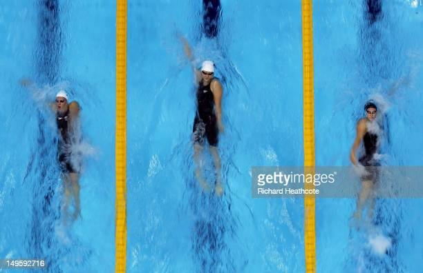 Alicia Coutts of Australia Shiwen Ye of China and Caitlin Leverenz of the United States compete in the Women's 200m Individual Medley final on Day 4...