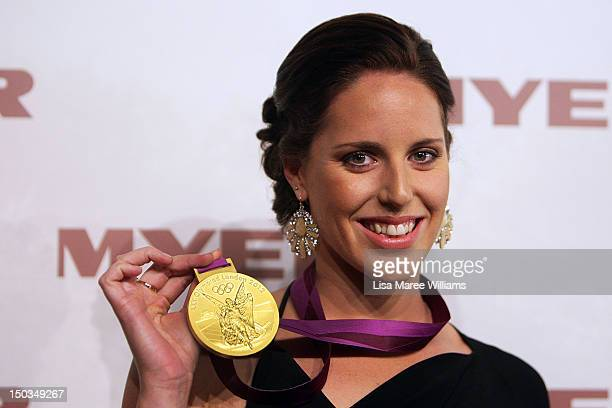 Alicia Coutts wears her Olympic gold medal at the MYER Spring Summer 2013 Collection Fashion Launch at Hordern Pavilion on August 16 2012 in Sydney...