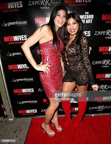 Alicia DiMichele Garofalo and Natalie Guercio attend Mob Wives Season 4 premiere at Greenhouse on December 5 2013 in New York City