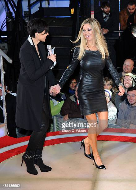 Alicia Douvall enters the Celebrity Big Brother house at Elstree Studios on January 7 2015 in Borehamwood England