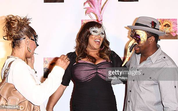 Alicia Etheredge Kym Whitley and Bobby Brown arrive at Kym Whitley's 40th Birthday Celebration at Rain Nightclub on July 23 2013 in Studio City...
