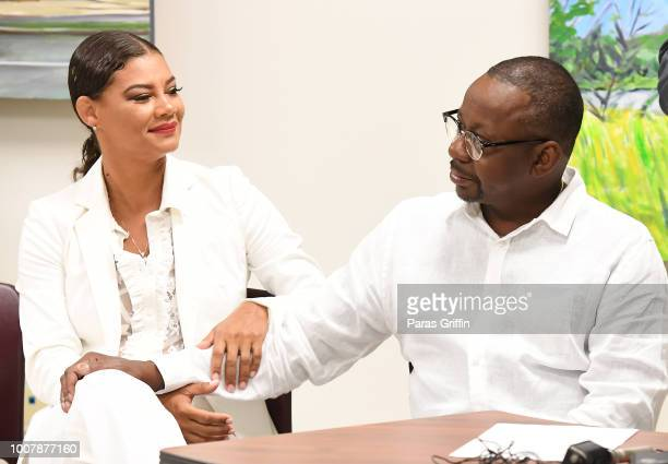 Alicia EtheredgeBrown and Bobby Brown attend Proclamation to Bobby Brown To Honor the 'Bobbi Kristina Serenity House' at South Fulton City Hall on...