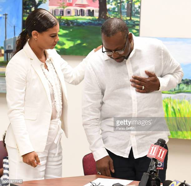 Alicia EtheredgeBrown and Bobby Brown speaks onstage during the Proclamation to Bobby Brown To Honor the 'Bobbi Kristina Serenity House' at South...