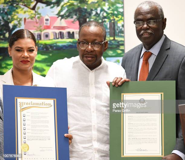 Alicia EtheredgeBrown Bobby Brown and City of South Fulton Mayor ÒBillÓ Edwards attend Proclamation to Bobby Brown To Honor the Bobbi Kristina...