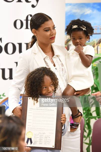 Alicia EtheredgeBrown Bodhi Brown and Cassius Brown attend Proclamation to Bobby Brown To Honor the 'Bobbi Kristina Serenity House' at South Fulton...