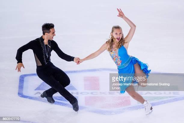 Alicia Fabbri and Claudio Pietrantonio of Canada compete in the Junior Ice Dance Short Dance during day one of the ISU Junior Grand Prix of Figure...