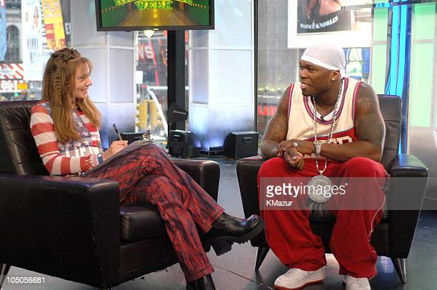 Alicia Feghhi and 50 Cent during 50 Cent Kicks Off MTV's 'TRL' High School Week April 14 2003 at MTV Studios Times Square in New York City New York...
