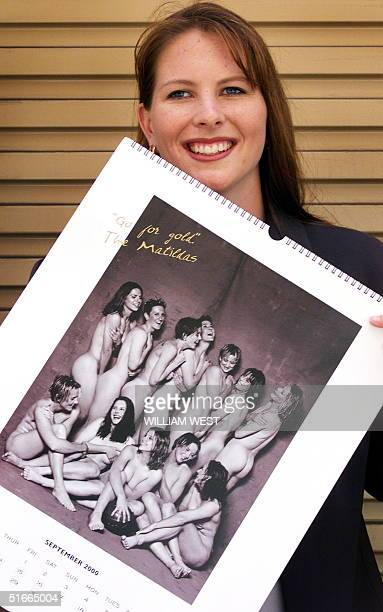 Alicia Ferguson of the Matildas' Australia's women's soccer team poses with a nude photo of herself and the team which is part of a calendar produced...