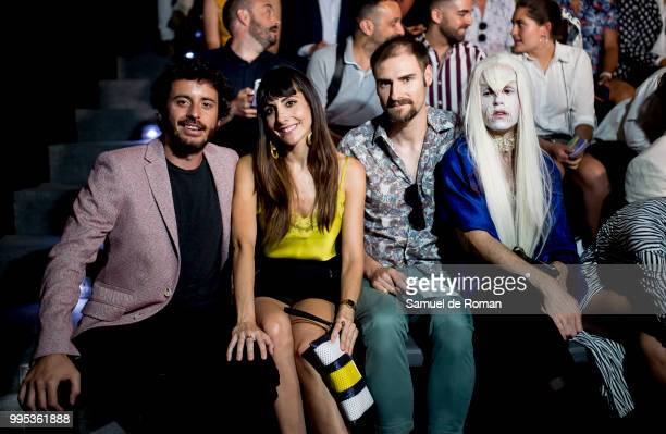 Alicia Fernandez Javier Pereira and Elandorphium attend the front row of Garcia Madrid show during Mercedes Benz Fashion Week Madrid on July 10 2018...