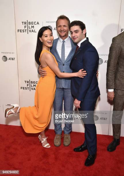 Alicia Hannah actors Sebastian Roche and Alex Rich attend the National Geographic premiere screening of 'Genius Picasso' on April 20 2018 at the...