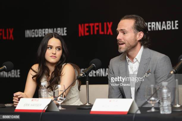 Alicia Jaziz and Erik Hayser attend a photocall and press conference to promote Netflix's series 'Ingobernable' at St Regis Hotel on March 22 2017 in...