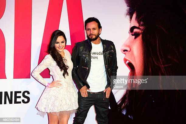 Alicia Jaziz and Luis Fernando Padilla pose for pictures on the red carpet during the premiere of the movie Gloria at Plaza Universidad on December...
