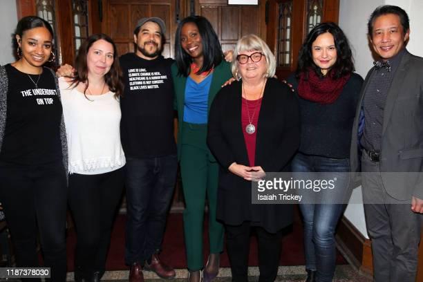 Alicia K. Harris, Kat McNichol, Cory Bowles, Lanette Ware-Bushfield, Martha Martin, Sarah Podemski and Russell Yuen attend Listen And Learn at...