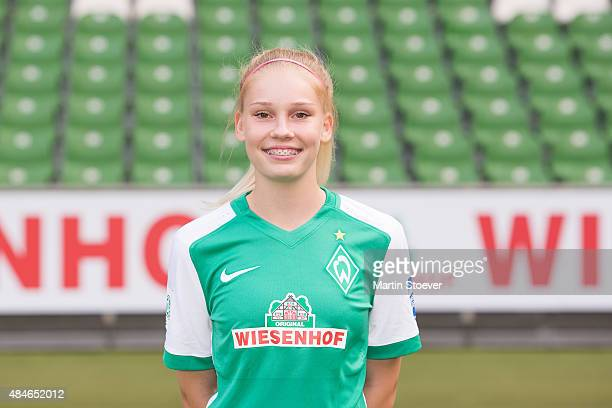 Alicia Kersten poses during the official team presentation of Werder Bremen women's at Weserstadion on August 20 2015 in Bremen Germany