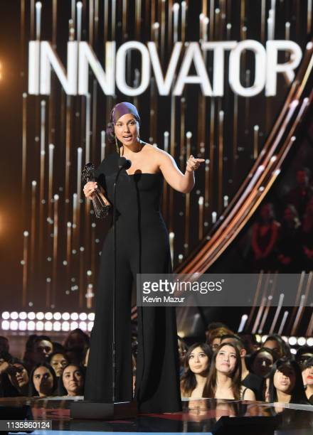 Alicia Keys accepts the Innovator award on stage at the 2019 iHeartRadio Music Awards which broadcast live on FOX at Microsoft Theater on March 14...