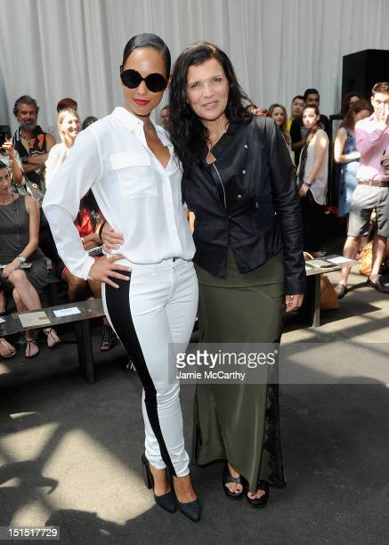 Alicia Keys and Ali Hewson attend the Edun show during Spring 2013 MercedesBenz Fashion Week at Skylight at Moynihan Station on September 8 2012 in...