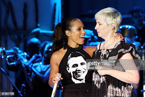 Alicia Keys and Annie Lennox perform at the Black Ball UK in aid of 'Keep A Child Alive' HIV/AIDS charity at St John's, Smith Square on July 10, 2008...