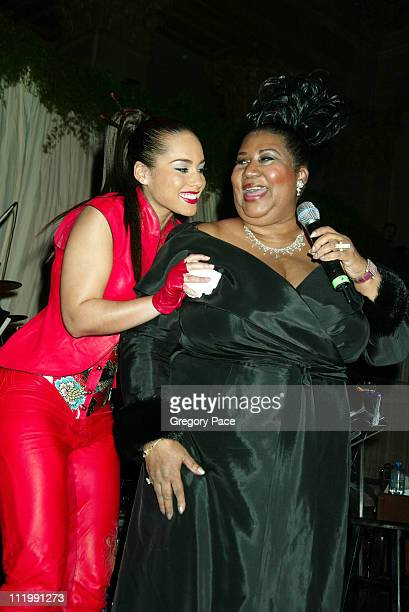 Alicia Keys and Aretha Franklin during 2003 Clive Davis PreGRAMMY Party at The Regent Wall Street in New York NY United States