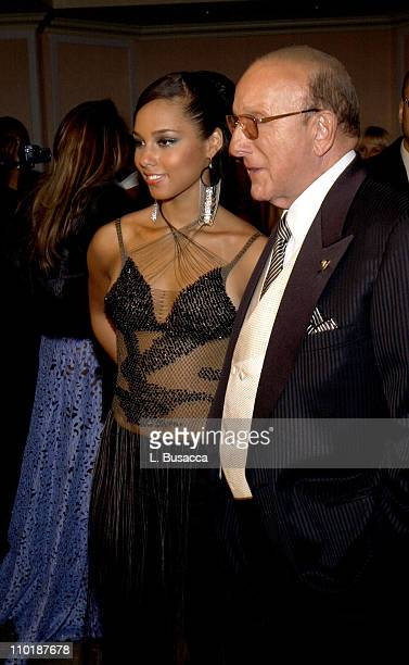 Alicia Keys and Clive Davis during 2004 Clive Davis PreGrammy Party Inside Arrivals at Beverly Hills Hotel in Beverly Hills California United States