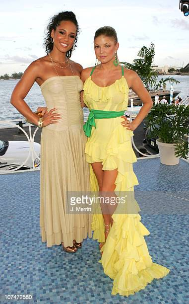 Alicia Keys and Fergie of Black Eyed Peas during 2005 MTV Video Music Awards MTV News Platform Arrivals at American Airlines Arena in Miami Florida...