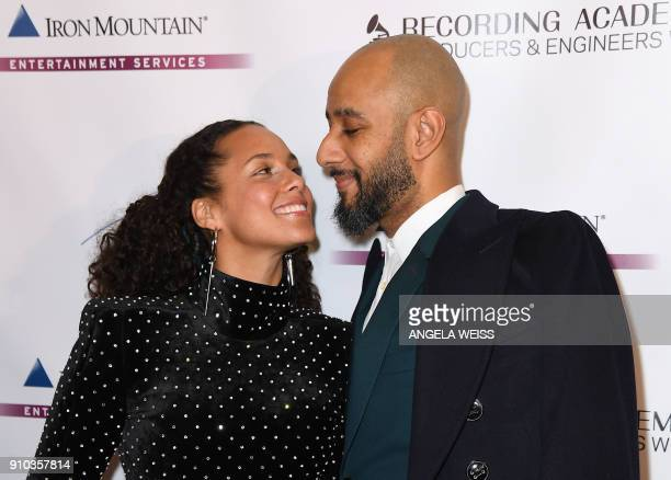 Alicia Keys and her husband Swizz Beatz attend the Recording Academy Producers Engineers Wing 11TH annual GRAMMY¨ Week event honoring international...