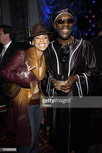 Alicia Keys and Isaac Hayes during The 17th Annual Rock and Roll Hall of Fame Induction Ceremony Audience Backstage Cocktail Party at Waldorf Astoria...